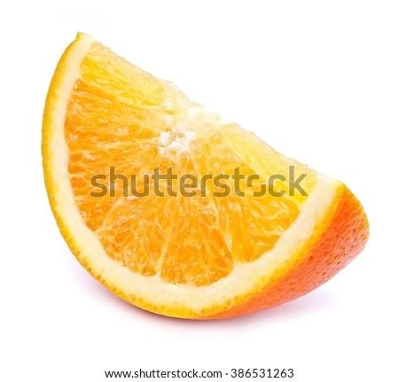 Orange slice isolated close up - stock photo