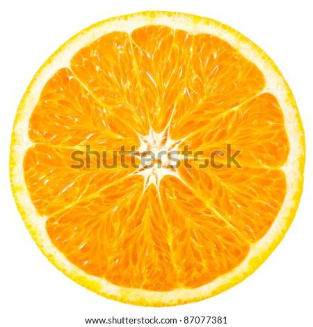 orange slice isolated on white background - stock photo