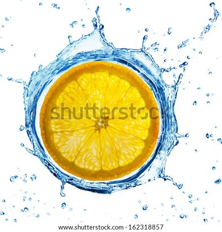 orange slice splashing in water, top view - stock photo