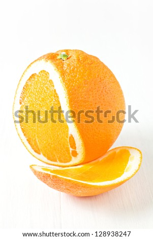 Orange sliced isolated on white - stock photo