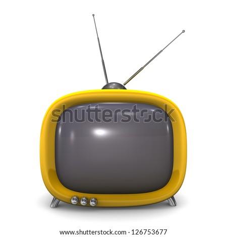 Orange small TV with antenna. White background. - stock photo