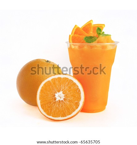 Orange Smoothie on white background - stock photo