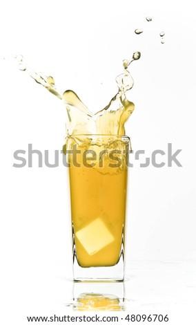 orange soda lemonade splash - stock photo