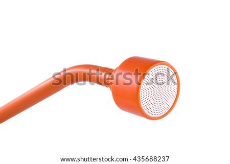 Orange soft watering nozzle isolated on white background - stock photo