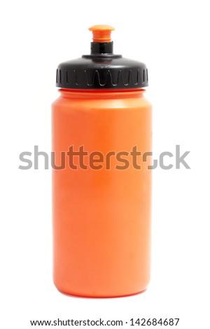 orange sport plastic water bottle on white - stock photo