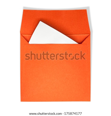 Orange square envelopes. A white paper inside on a white background with clipping path. - stock photo