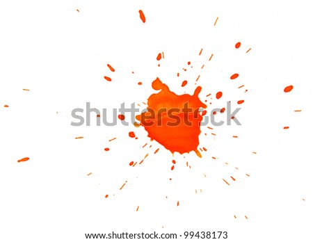 Orange stain on a white background. - stock photo