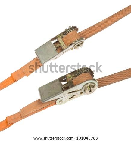 Orange straps, isolated on background - stock photo