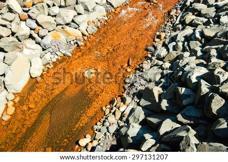 Orange Stream at Mount Rainier National Park - stock photo