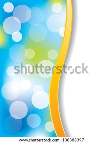 Orange striped blue backdrop with bubbles - stock photo