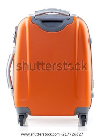Orange suitcase on a white background. - stock photo