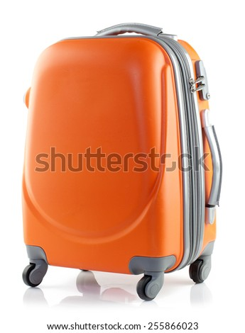 Orange suitcase on a white background. - stock photo