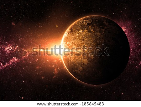 Orange Sunrise over Lone Planet - Elements of This Image Furnished By NASA  - stock photo