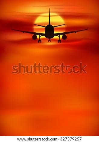 Orange sunset background with black plane silhouette - stock photo