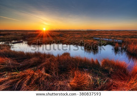 Orange sunset illuminating the marshes on a cold, December day - stock photo