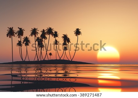 orange sunset over tropical coconut island - stock photo