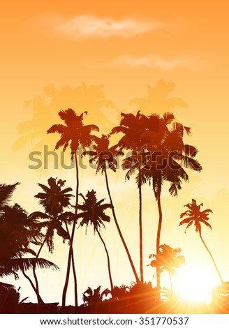 Orange sunset palms silhouettes poster background - stock photo