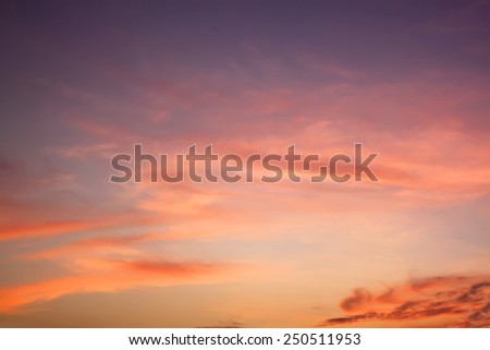 Orange sunset sky - stock photo