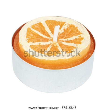 Orange Tea Light Cutout - stock photo