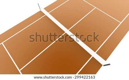 Orange tennis court rendered isolated on white background - stock photo