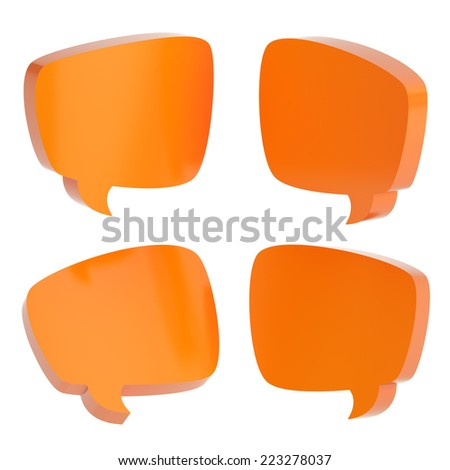 Orange text bubble dimensional shapes isolated over the white background, set of four foreshortenings - stock photo