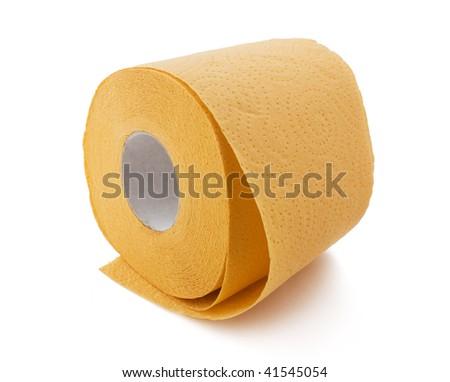 orange toilet paper - stock photo