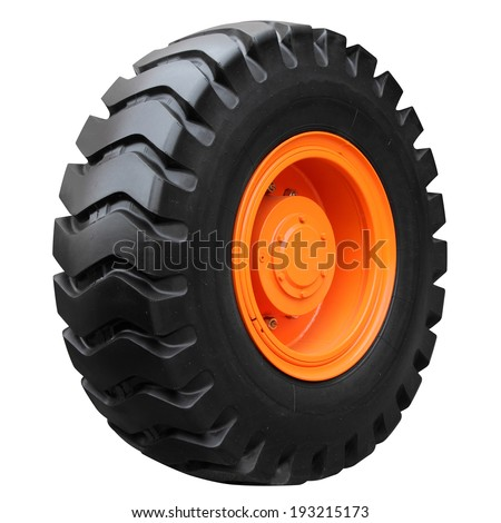 Orange tractor wheel isolated on white background - stock photo