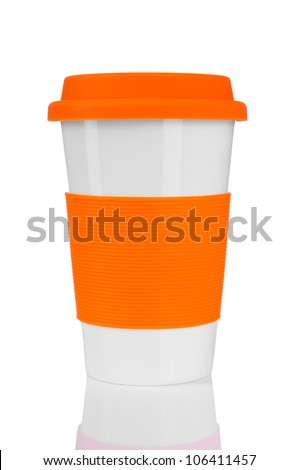 orange travel mug isolated on white - stock photo
