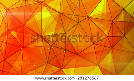 orange triangles web pattern. computer generated abstract geometrical background - stock photo