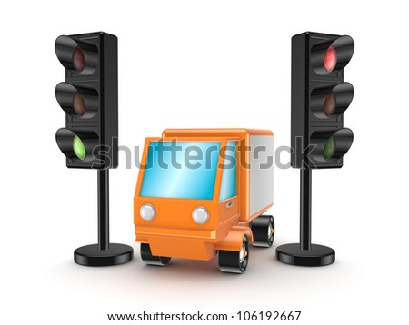 Orange truck between traffic lights.Isolated on white background.3d rendered. - stock photo