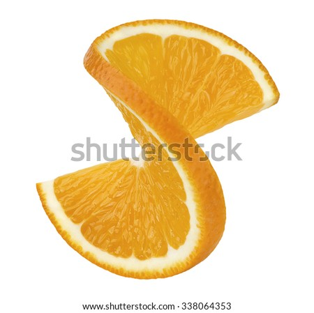 Orange twist slice 2 isolated on white background as package design element - stock photo
