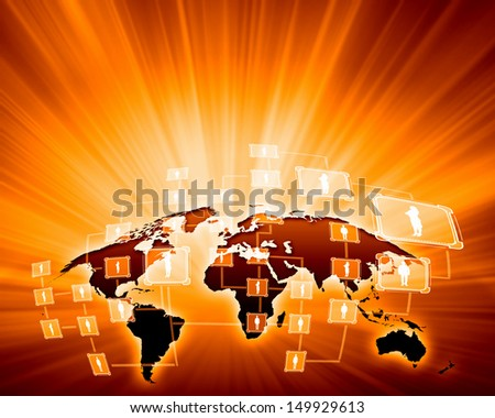 Orange vivid image of globe. Globalization concept - stock photo