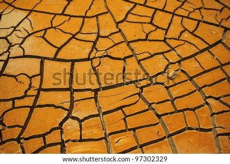 Orange volcano mud of Wawo Muda on Flores island in Indonesia - stock photo