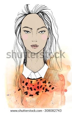 orange watercolor asian women on  a white background - stock photo