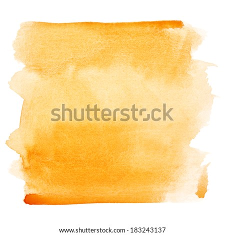 Orange watercolor brush strokes - space for your own text - stock photo