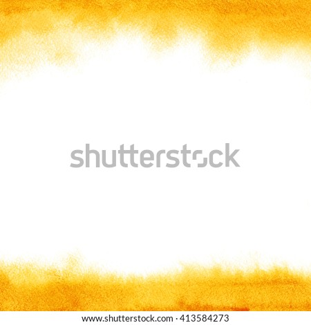 Orange watercolor frame. Abstract background with blurred edges. Ombre watercolour flamy. Hand drawn fiery texture with soft edges.Yellow, sand, solar colors. - stock photo