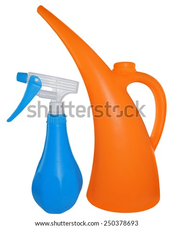 orange watering can and blue sprayer, isolated on white background - stock photo