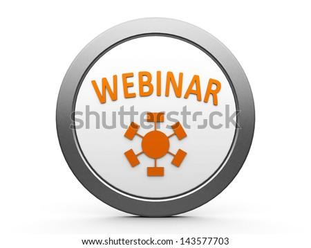 Orange webinar emblem is online seminar, three-dimensional rendering - stock photo