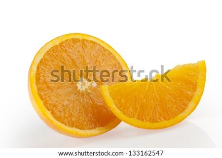 Orange wedge and slice on white background - stock photo