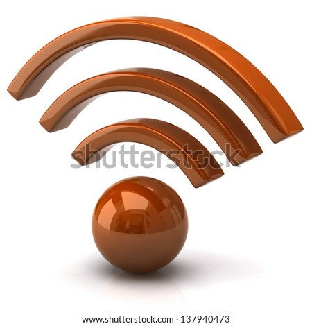 Orange wifi icon - stock photo