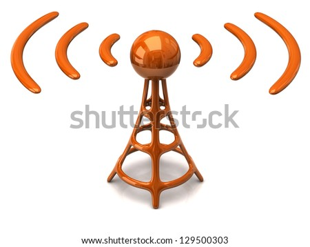 Orange wireless icon on white background - stock photo