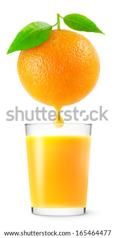 Orange with a drop of juice over glass of juice isolated on white - stock photo