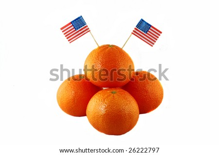 orange with american flags, isolated in white - stock photo