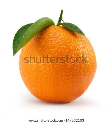 Orange with leaf - stock photo