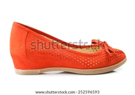 Orange women shoe isolated on white background. - stock photo