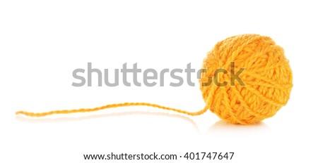 Orange Yarn Ball - stock photo