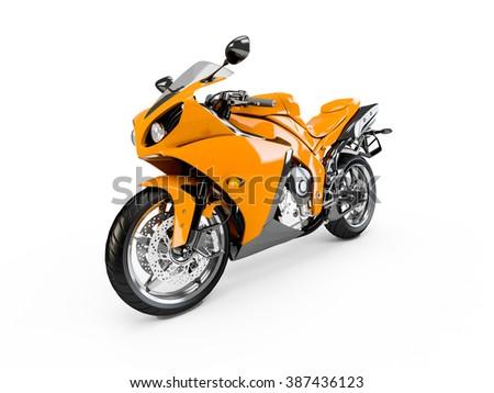Orange Yellow motorcycle isolated on a white background. - stock photo