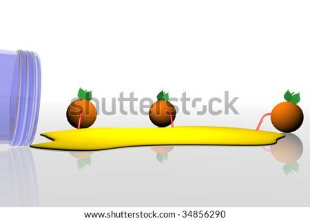 oranges drinking orange juice, spilled orange juice, yellow juice, oranges with drinking straws, fresh lemonade, oranges having refreshments, abstract oranges on white background, fruit mania - stock photo