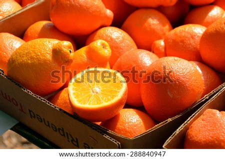 Oranges for sale at outdoor market - stock photo