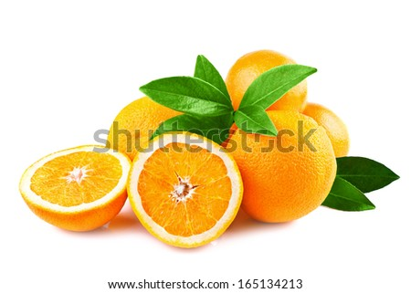 oranges fruits isolated on white - stock photo